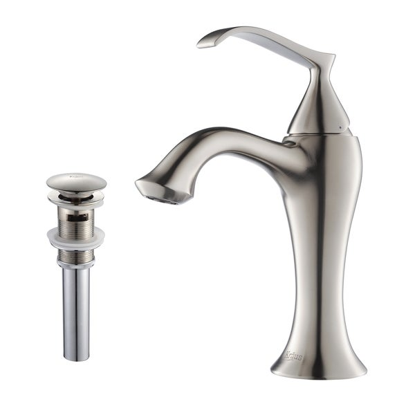 Kraus Ventus Single Lever Bas-inch Faucet/ Pop Up Drain Brushed Nickel