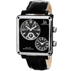 Joshua & Sons Men's Dual-time Black Square Watch
