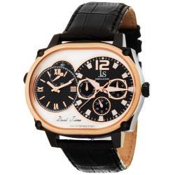 Joshua & Sons Men's Dual-time Multi-function Black Watch