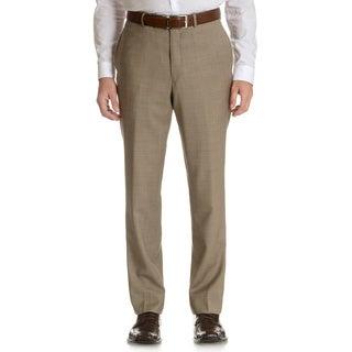Tommy Hilfiger Men's Trim Fit Tan Sharkskin Wool Dress Pants