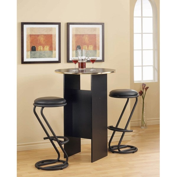 Black Bar Height Table with Brass Trim