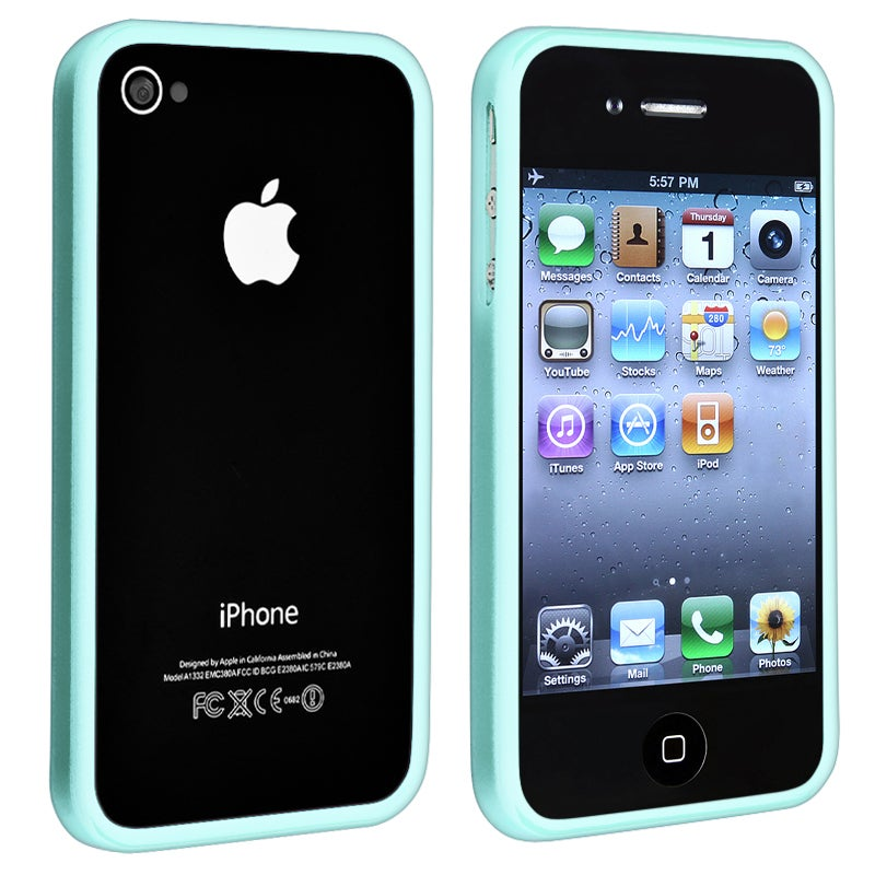 Blue Shiny Bumper TPU Rubber Skin Case for Apple iPhone 4/ 4S
