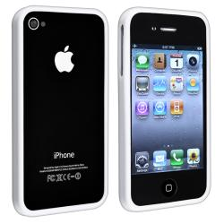 INSTEN White Shiny Bumper TPU Rubber Skin Phone Case Cover for Apple iPhone 4/ 4S