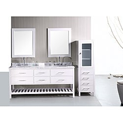 Design Element London Shaker Style Double Sink Bathroom Vanity Marble Counter Top