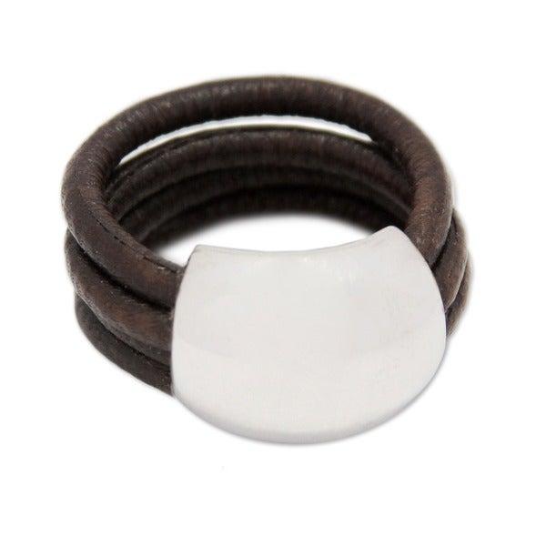 Sterling Silver 'Dark Brown Moon' Leather Ring (Peru)