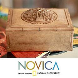 Handcrafted Walnut Wood 'Kashmiri Flower' Jewelry Box (India)
