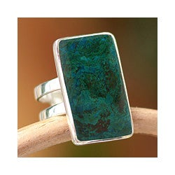 Sterling Silver 'Amazon Blue' Chrysocolla Ring (Peru)
