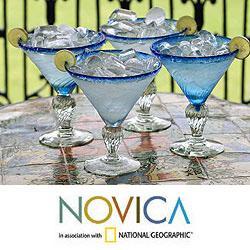 Set of 4 Blown Glass 'Ice Blue' Martini Glasses (Mexico)