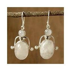 Sterling Silver 'Indian Goddess' Moonstone Earrings (India)