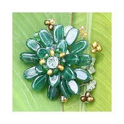 Stainless Steel 'Jungle' Multi-gemstone Pearl Brooch (4 mm) (Thailand)