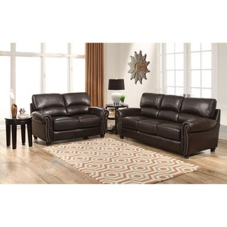 ABBYSON LIVING Monaco Premium Top-grain Leather Sofa and Loveseat