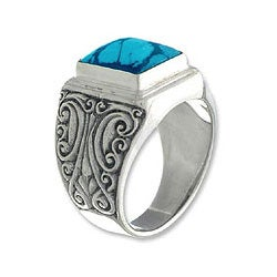 Sterling Silver Men's 'Sky Crown' Recon Turquoise Ring (Indonesia)