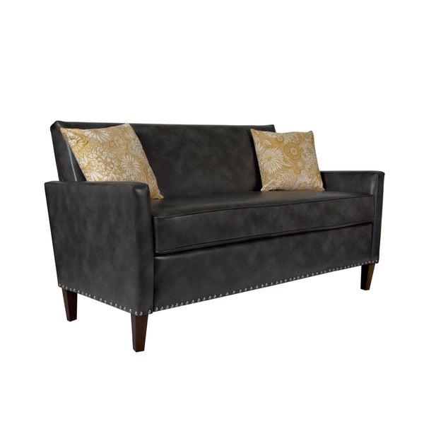 angelo:HOME Sutton Charcoal Gray Renu Leather Sofa