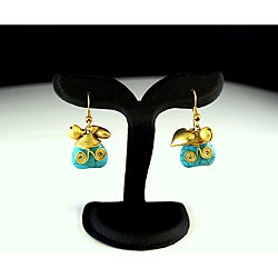 Goldtone Turquoise Heart Earrings (Thailand)