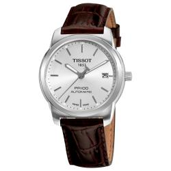 Tissot Men's 'PR-100' Silver Dial Brown Leather Strap Automatic Watch