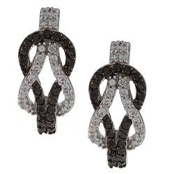 La Preciosa Sterling Silver Black and White CZ Love Knot Earrings