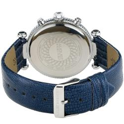August Steiner Women's Crystal MOP Chronograph Blue-Strap Watch with Stainless Steel Bezel