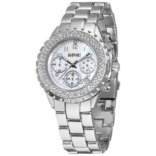August Steiner Women's Silver-Tone Crystal MOP Chronograph Bracelet Watch