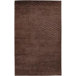 Hand-tufted Solid Brown Riddle Wool Rug (9' x 13')