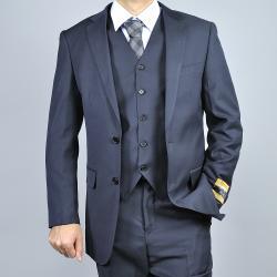 Men's Black Wool/ Silk Vested Suit
