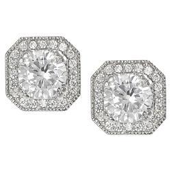Tressa Silvertone Round and Cushion-cut Cubic Zirconia Stud Earrings