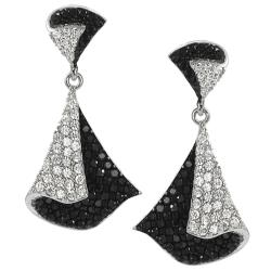Tressa Silvertone Pave-set Black and White Cubic Zirconia Earrings