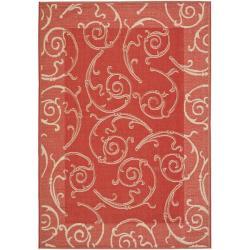 Safavieh Modern Red/ Natural Indoor Outdoor Rug (5'3 x 7'7)
