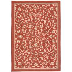Safavieh Indoor/ Outdoor Geometric Red/ Natural Rug (9' x 12')