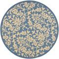 Safavieh Blue/ Natural Indoor Outdoor Rug (5'3 Round)