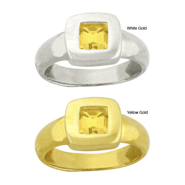 10k Gold Synthetic Golden Topaz Square Ring