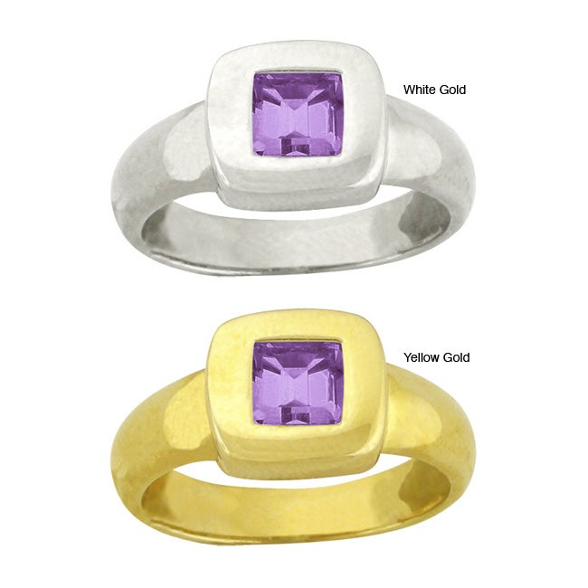 10k Gold Octagon Synthetic Amethyst Contemporary Square Ring