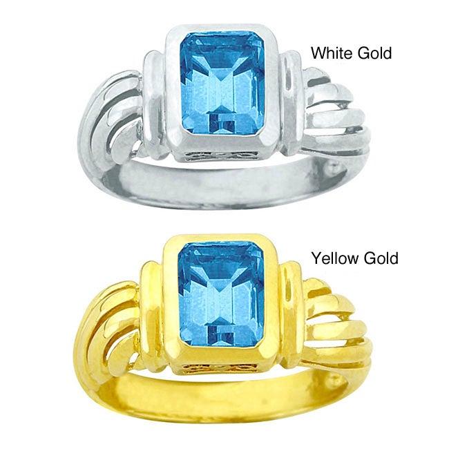 10k Gold Bezel-set Synthetic Blue Zircon Solitaire Ring