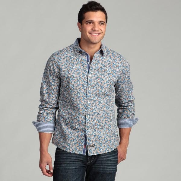 English Laundry Men's Blue Floral Woven Shirt