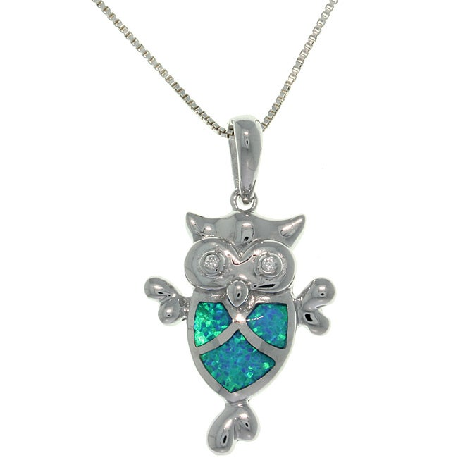 CGC Sterling Silver Created Opal and Cubic Zirconia Owl Necklace