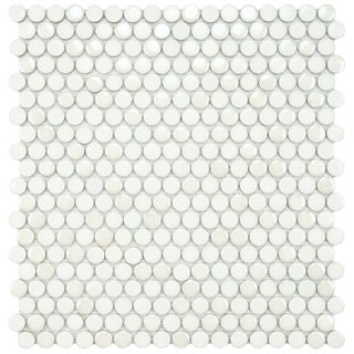SomerTile 11.25x12-inch Posh Penny Round White Porcelain Mosaic Tiles (Set of 10)