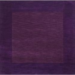 Hand-crafted Purple Tone-On-Tone Bordered Taurus Wool Rug (9'9 Square)
