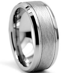 Tungsten Carbide Men's Brushed Center Ring (8 mm)
