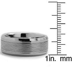 Tungsten Carbide Men's Brushed Center Ring (8 mm)