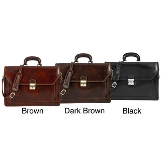 Alberto Bellucci 'Capri' Italian Calf-Skin Triple-Gusset Flap-Over Laptop Briefcase Made in Italy