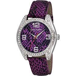 Vernier Women's V11097 Series Fashion Purple Snake Pattern Watch