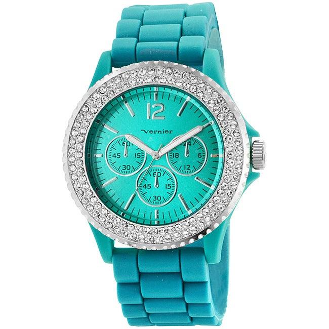 Vernier Women's 'V11044' Aqua Sparkle Chronograph Watch