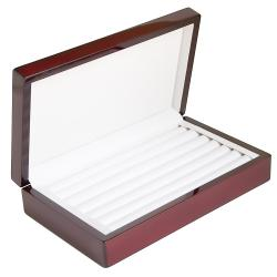 Caddy Bay Collection Rosewood 6-Ring Row Jewelry Display Case