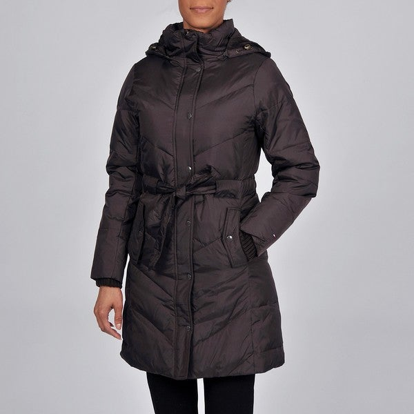 Tommy Hilfiger Women's 'Pico' Hooded Down-Filled Belted Jacket