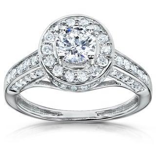 Annello 14k Gold 1ct TDW Diamond Halo Engagement Ring (H-I, I1-I2) with Bonus Item