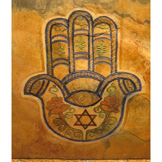 'The Hamsa' Good Luck Hand of Protection Judaica Art/ Stone Art Tile
