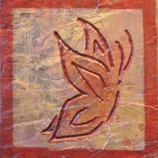 Butterfly Art Healing Stone Artisan Tile