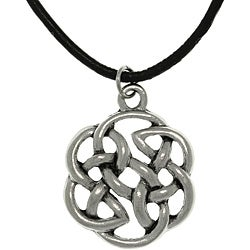 CGC Pewter Unisex Celtic Shield of Destiny Black Cord Necklace