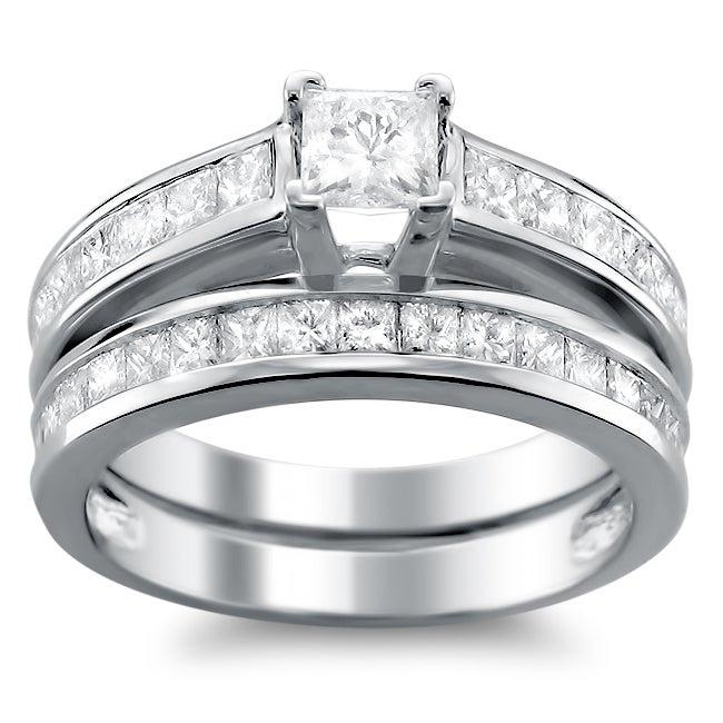 14k White Gold 1ct TDW Princess-cut Diamond Bridal Ring Set (H-I, I1)