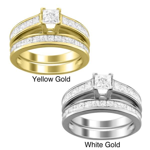 14k Gold 2ct TDW Princess-cut Diamond Bridal Ring Set (H-I, I1)