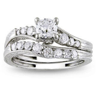 Miadora 14k White Gold 1ct TDW Diamond Bridal Ring Set (G-H, I2-I3)